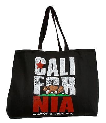 Amazon.com | California Republic Flag Black Tote Bag | Travel Totes