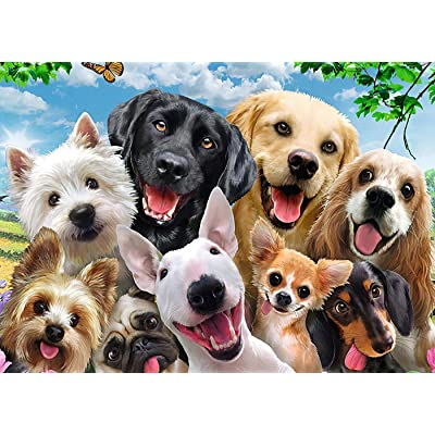 ZFCGEE 1000 Piece Puzzle for Adults, Fun Animals Puzzles Paper Painting Jigsaw Paintings Gifts Boring Toy at Home (Dog A): Toys & Games