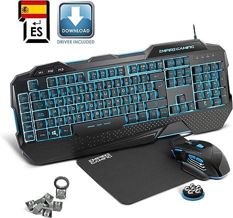 EMPIRE GAMING - Pack Hellhounds Layout QWERTY Español Teclado Ratón y Alfombrilla Gamer - Semimecánicos - 33 macros configurables- 7 botones 7200 DPI ...