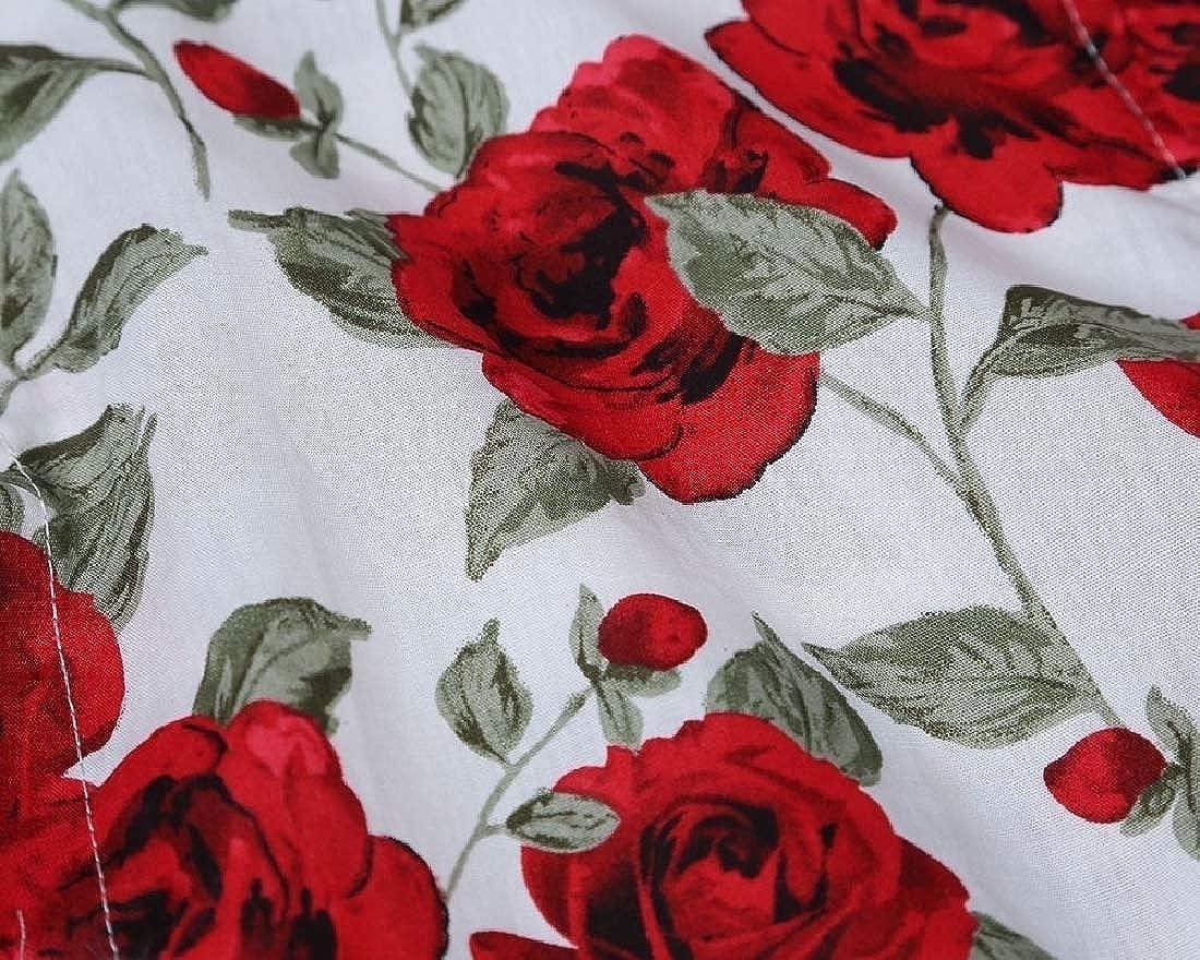 Men Long Sleeve Button Closure Floral Design Slim Dress Shirts