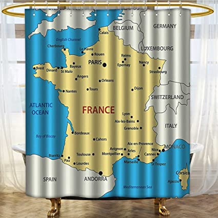 NALAHOMEQQ Wanderlust Decor Map Of France Country French Territory Channel Mediterranean Illustration Image Polyester Fabric Bathroom