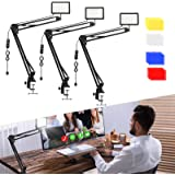 3 Packs 70 LED Video Conference Lighting with C Clamp Arm Stand/Color Filters, Obeamiu 5600K USB Studio Light Kit for Photogr