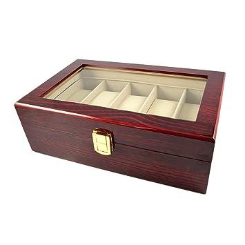 CursOnline® - Elegante estuche porta relojes de madera palisandro brillante con capacidad para 5 relojes