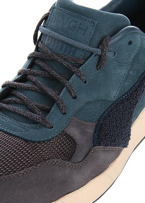 Puma Sneakers in pelle stringate viola e verde petrolio