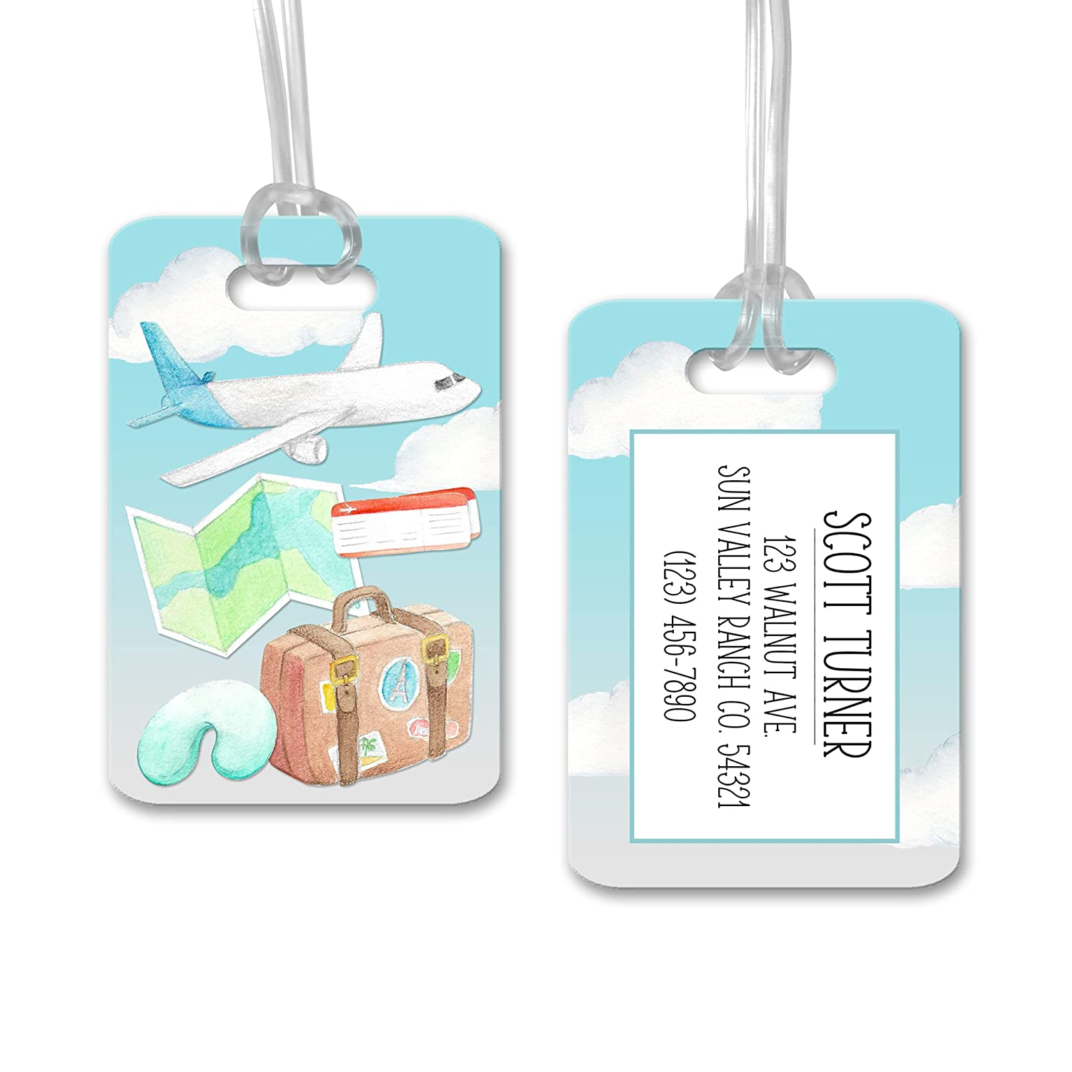 Travel Accessories Weatherproof Keep Calm And Travel On White Luggage Tag Hard Plastic Fun Bag Tag Custom Luggage Tag with Travel Theme