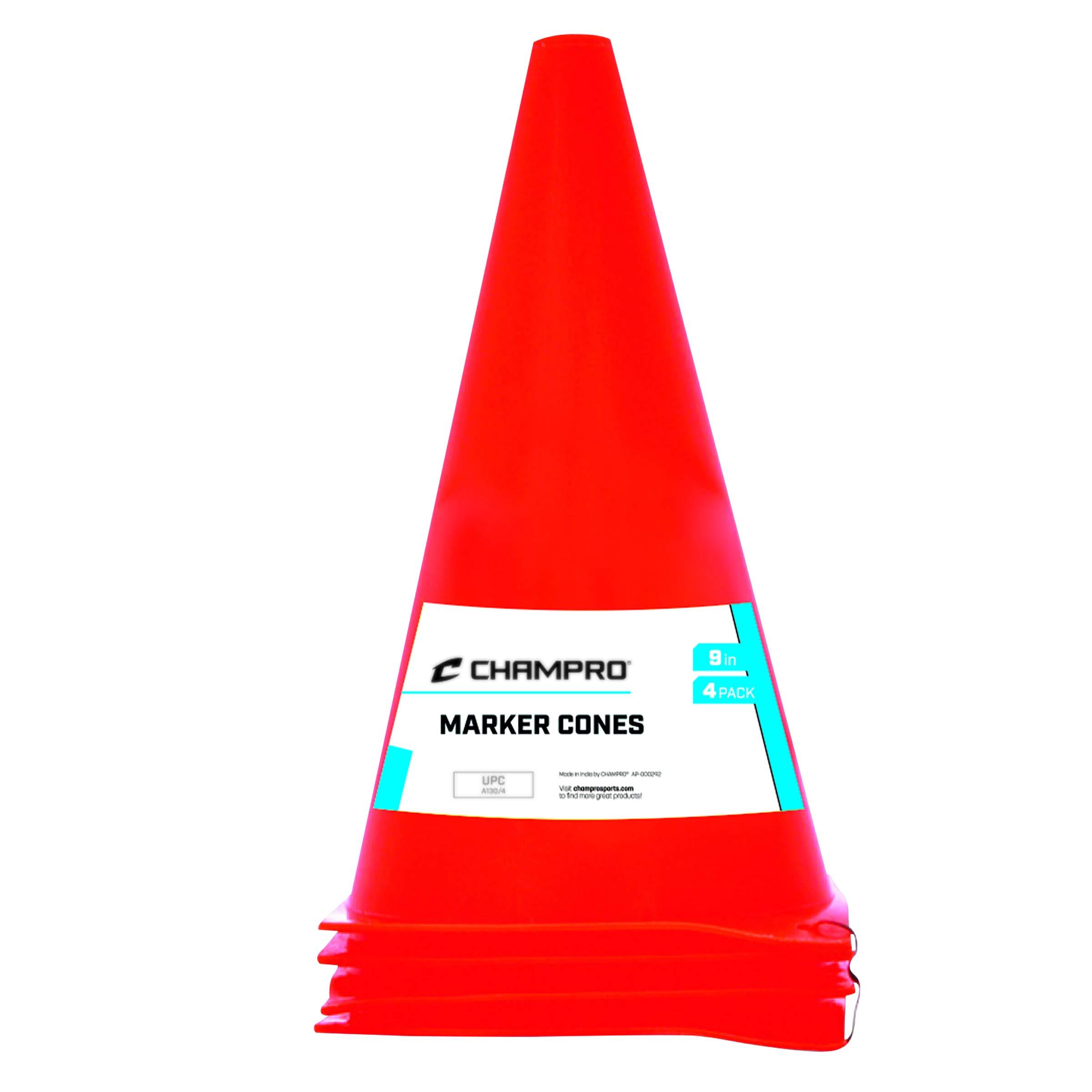 CHAMPRO Marker Cone Plastic, Set of 4 (Orange, 9-Inch)