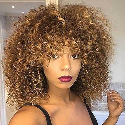 Pelucas sintéticas rizadas Afro para las mujeres negras Peluca ...