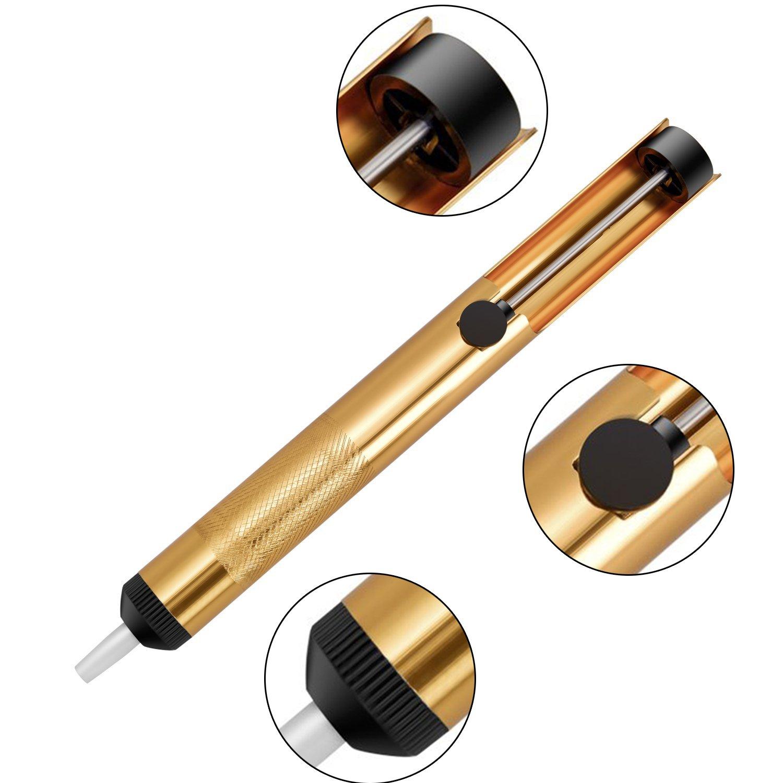 Jajaplus desoldering pump solder wick Solder Braid and Solder Sucker Desoldering Vacuum Pump Solder Removal Tool (Gold)