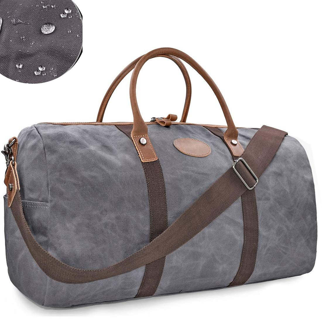 VOVIJ Waxed Canvas Waterproof Sports Gym Bag,with Shoes Compartment & Wet Pocket,45L (Color : Gray)