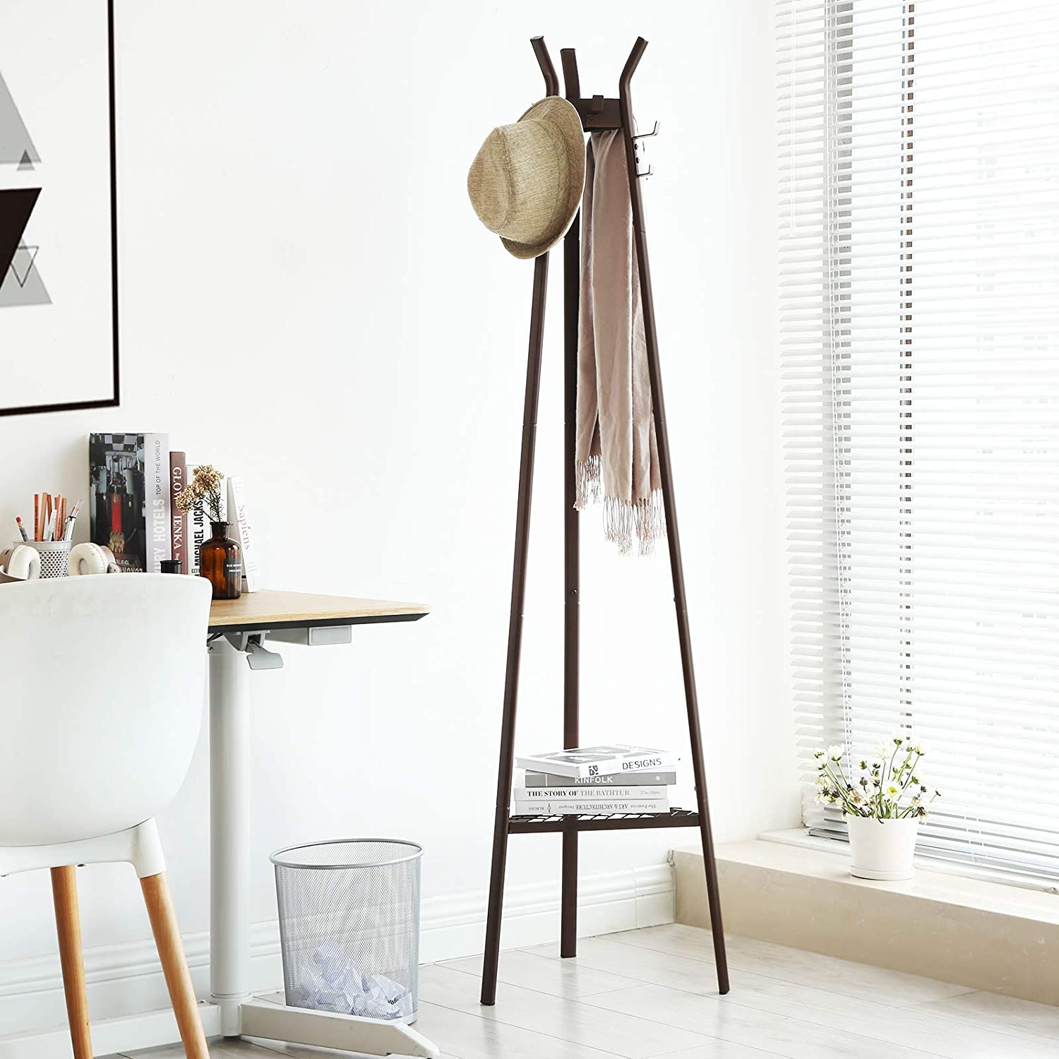 SONGMICS Coat Rack Stand, Entrance Coat Tree, Modern Style, with 3 Branches, 6 Hooks and Bottom Mesh Shelf, for Clothing, Hats, Bags, Hallway, ...