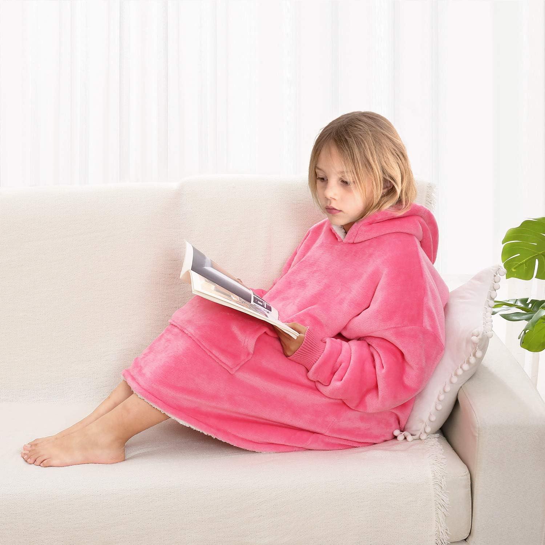 Comfy HOODIE SWEATSHIRT Wearable Blanket for Kids With Sleeves Pocket Oversized