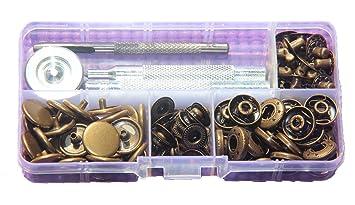 Werkzeug Leder 15 Sets 15mm Druckknöpfe Druckknopf Snap Klick Nähfrei Buttons