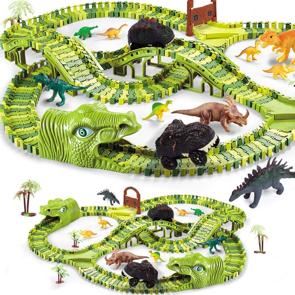 284pcs Dinosaur Toys for Kids Gift, Dinosaur Theme World Race Toy with 240 Flexible Track Playset, 10 Dinosaurs, 2 Dinosaur Cars,Christmas Birthday Gift for 3 4 5 Year Up Old Boys Girls