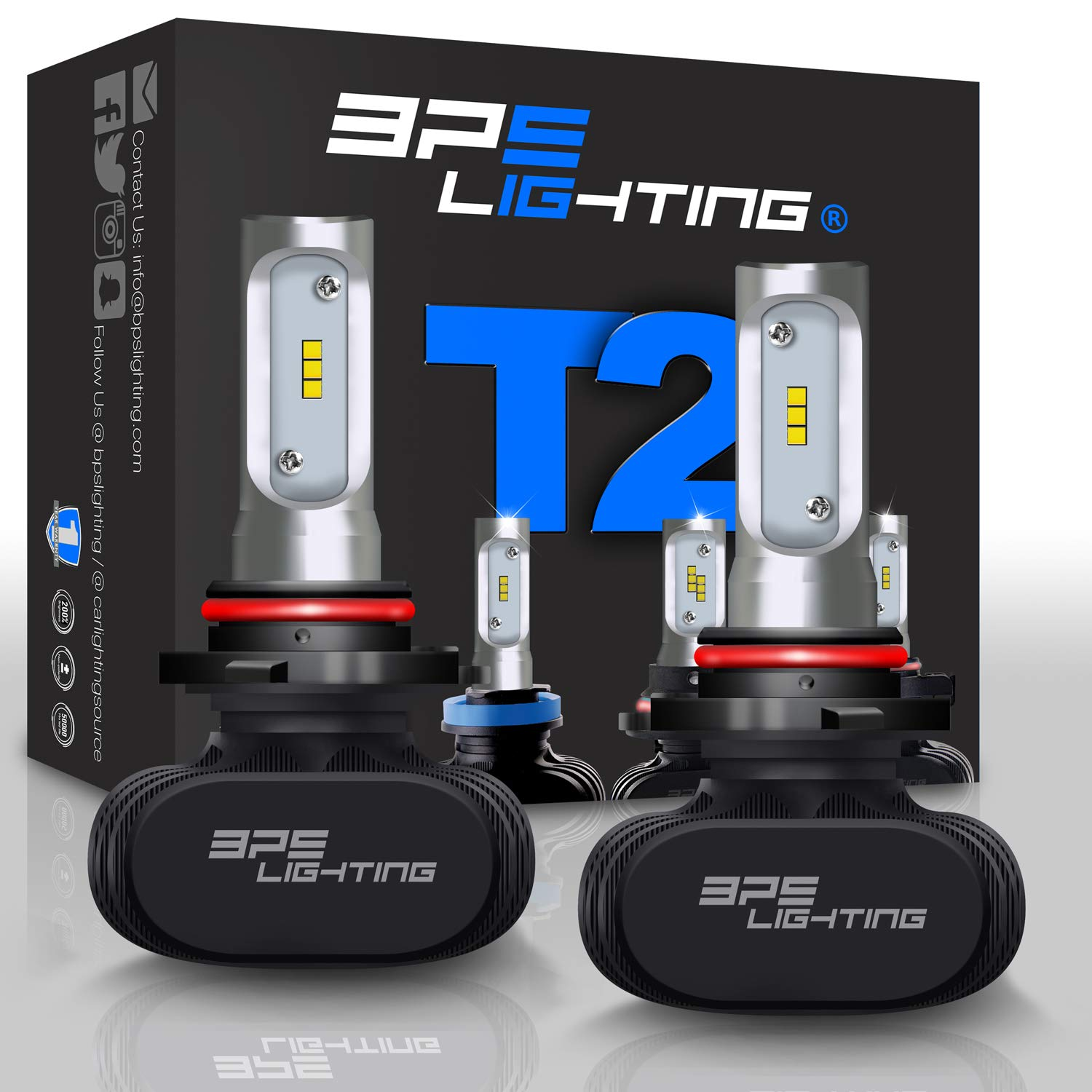 BPS Lighting T2 LED Headlight Bulbs Conversion Kit Car and Truck Super Bright Plug and Play High and Low Beam All-in One Cool White H4 9003 HB2-50W 8000 Lumen 6000K 6500K