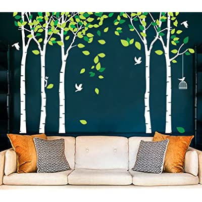 Fymural 5 Trees Wall Decals - Forest Mural Paper for Bedroom Kid Baby Nursery Vinyl Removable DIY Decals 103.9x70.9, White+Green: Home & Kitchen