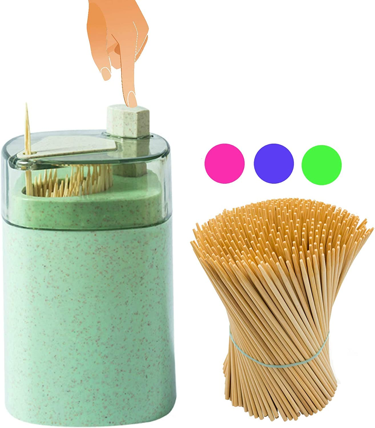 Toothpick Holder Dispenser Automatic Toothpicks Pak Designed In Us Small Spacious Green Kitchen Dining