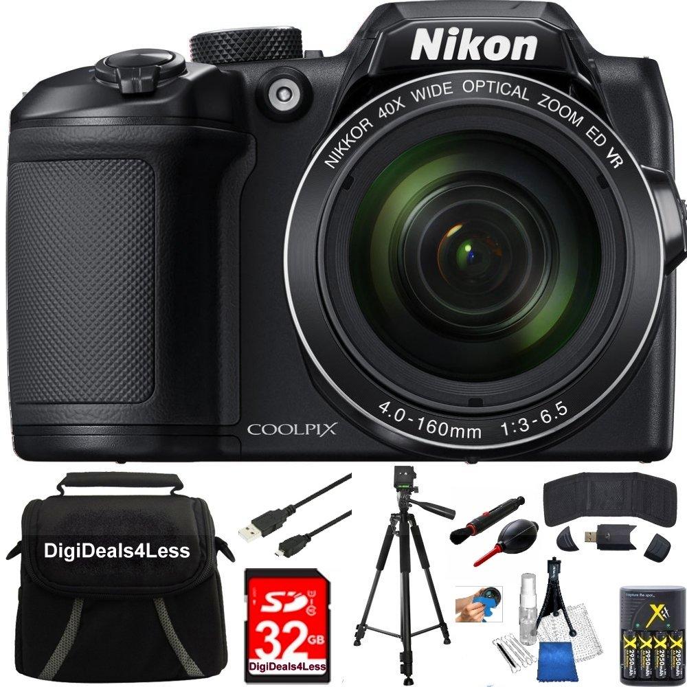 Nikon COOLPIX B500 16MP 40x Optical Zoom Digital Camera 32GB Bundle includes Camera, Bag, 32GB Memory Card, Reader, Wallet, AA Batteries + Charger, USB Cable, Tripod, DigiDeals4Less Cloth and MORE!
