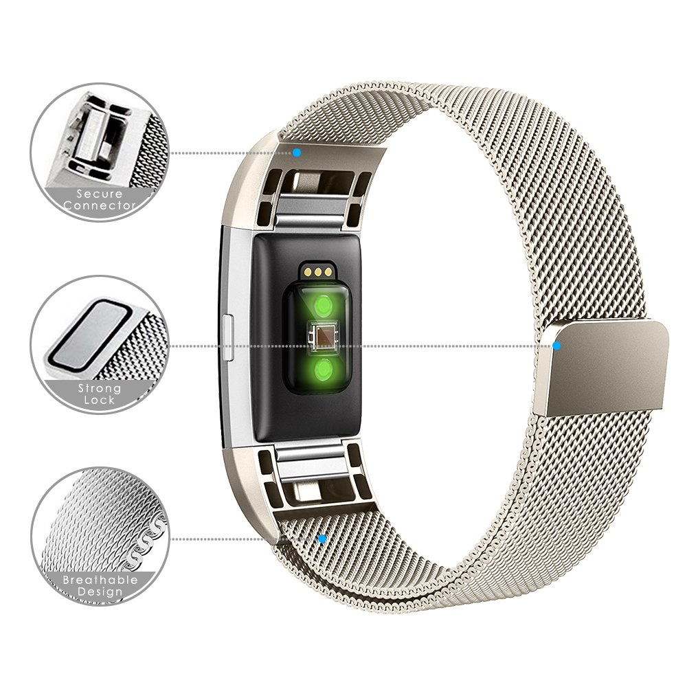 Black,Silver,Rose Gold,Rose Pink,Champagne Gold Small//Large Simpeak Compatible for Fitbit Charge 2 Band 2 Pack Replacement Milanese Band Strap with Magnetic Closure Clasp for Fit bit Charge 2