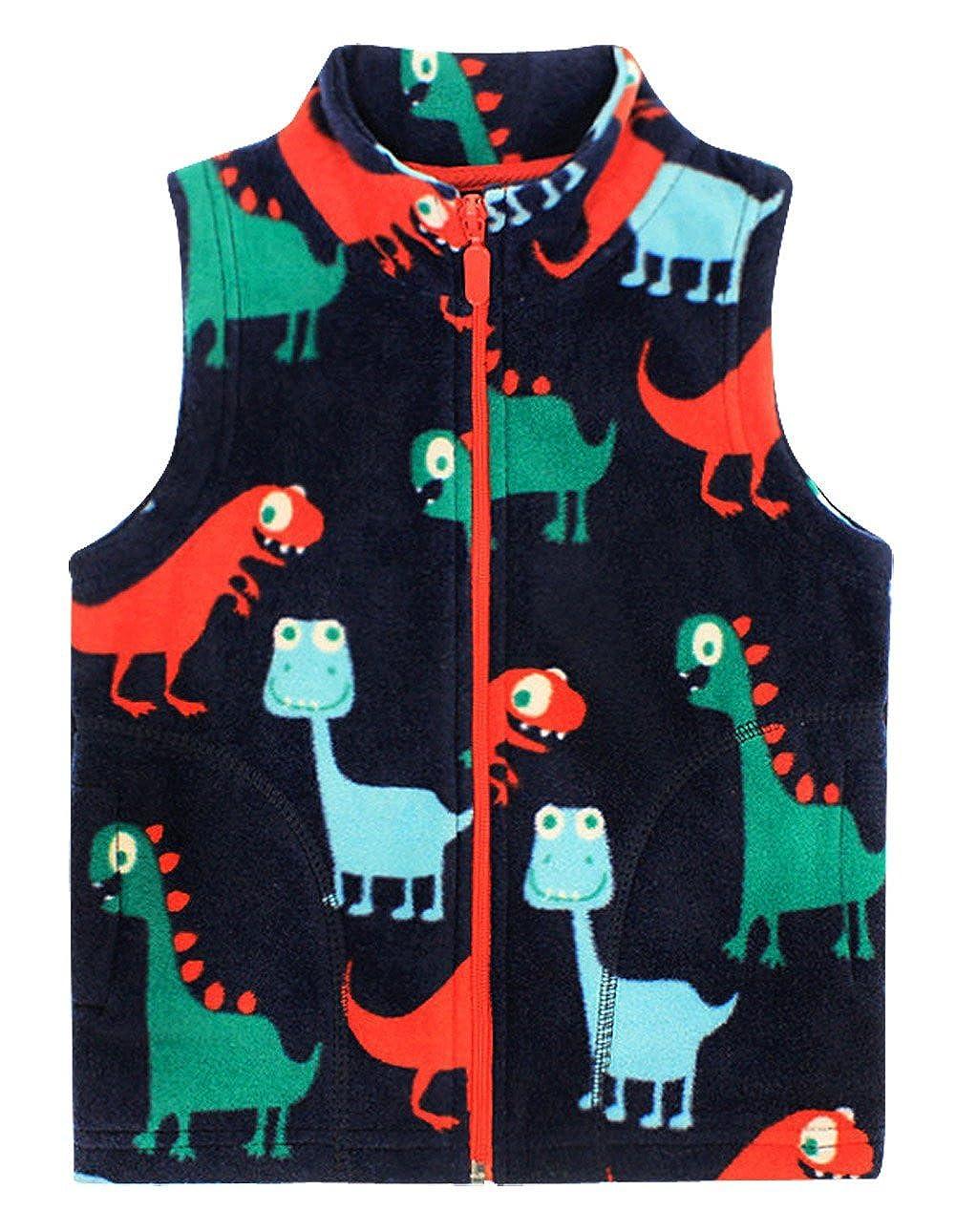 Happy Cherry Baby Boys Fleece Vest Cartoon Dinosaur Zipper UP Pockets Waistcoat 1-6T