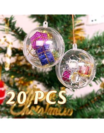b6faeadbdec Uten 20Pcs Bola de Navidad Adorno de DIY Transparente Bolas Vacío  Rellenable Plástica - Tamaño 20X