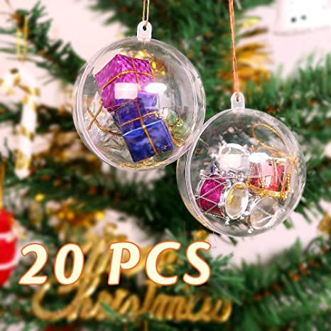 Christmas Ornaments Diy.Mbuynow 20pcs 8cm Christmas Ball Clear Transparent Balls Ornaments Diy Fillable Craft Plastic Xmas Ball Baubles