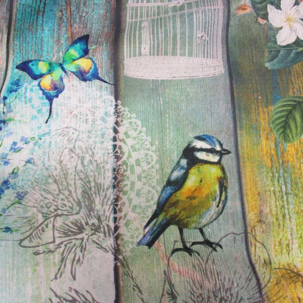 Se vende por metros de tela de algodón con diseño de pájaro y flores con diseño de madera de la impresión de pared de impresión digital: Amazon.es: Hogar