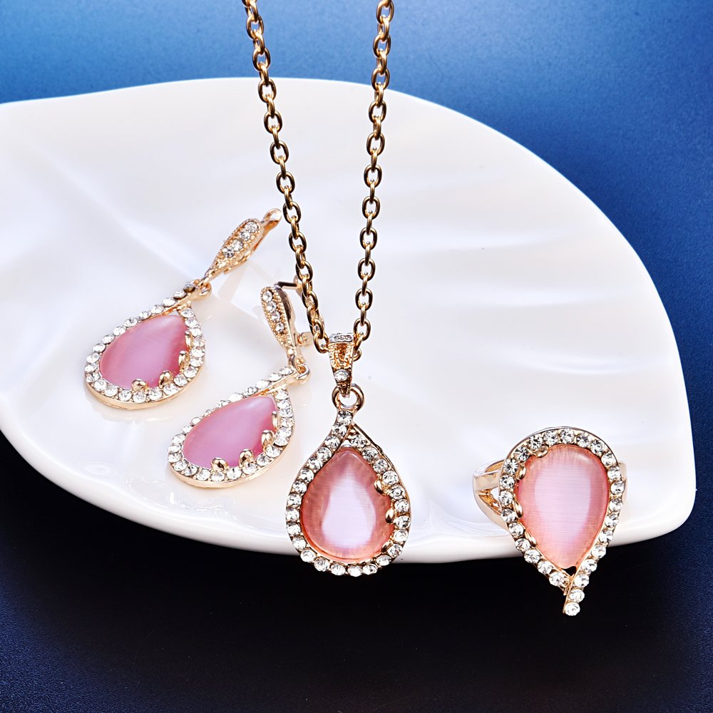 Rose Gold Crystal Jewelry Set Cute Women Pink Gems Necklace Earring Wedding Party Costume Accessories CZ Diamond - Ring#9