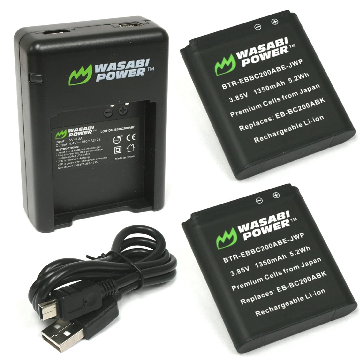 Wasabi Powerバッテリーと充電器for Samsung eb-bc200 2 Batteries + Dual Charger  B01N1QN63X