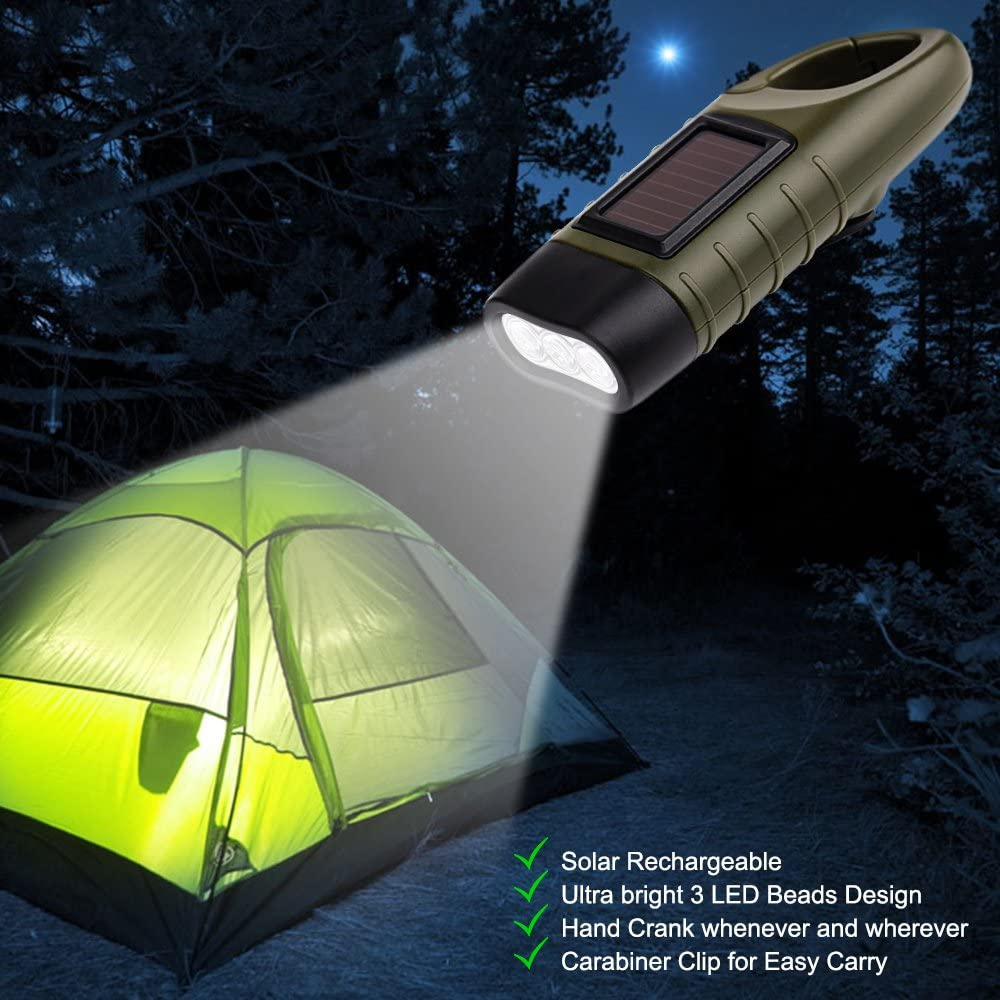 Carabiner Dynamo Quick Snap Clip Backpack Flashlight Torch for Outdoor Camping Climbing Hiking. Dland Solar Powered Rechargeable Flashlight Hand Cranking Emergency LED Flashlights