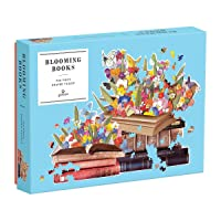 "Galison Blooming Books Shaped Jigsaw Puzzle, 750 Pieces, 28.3"" x 21'' –  Flowers..."