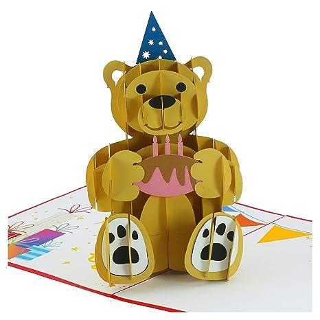 Amazon.com: Tarjetas desplegables: oso cumpleaños, tarjetas ...