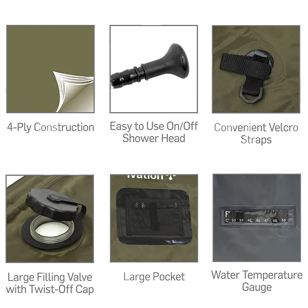 Ivation 5-Gallon Portable Outdoor Shower - Lightweight & Portable - Includes Removable Hose w/On-Off Switchable Showerhead - Compact and lightweight