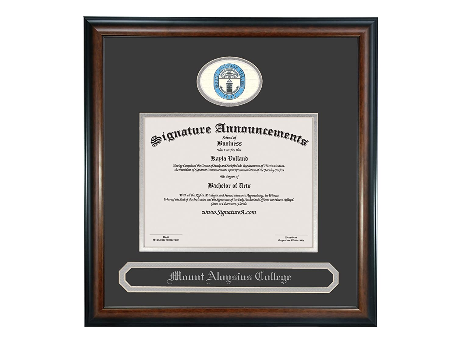 Matte Mahogany 16 x 16 Signature Announcements Mount Aloysius College Undergraduate Sculpted Foil Seal /& Name Graduation Diploma Frame