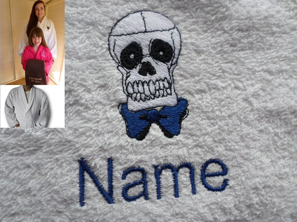 Adult Bath Robe with a SKULL Logo and Name of your choice in White, Size Medium, Large, XLarge or XXLarge (XLarge)