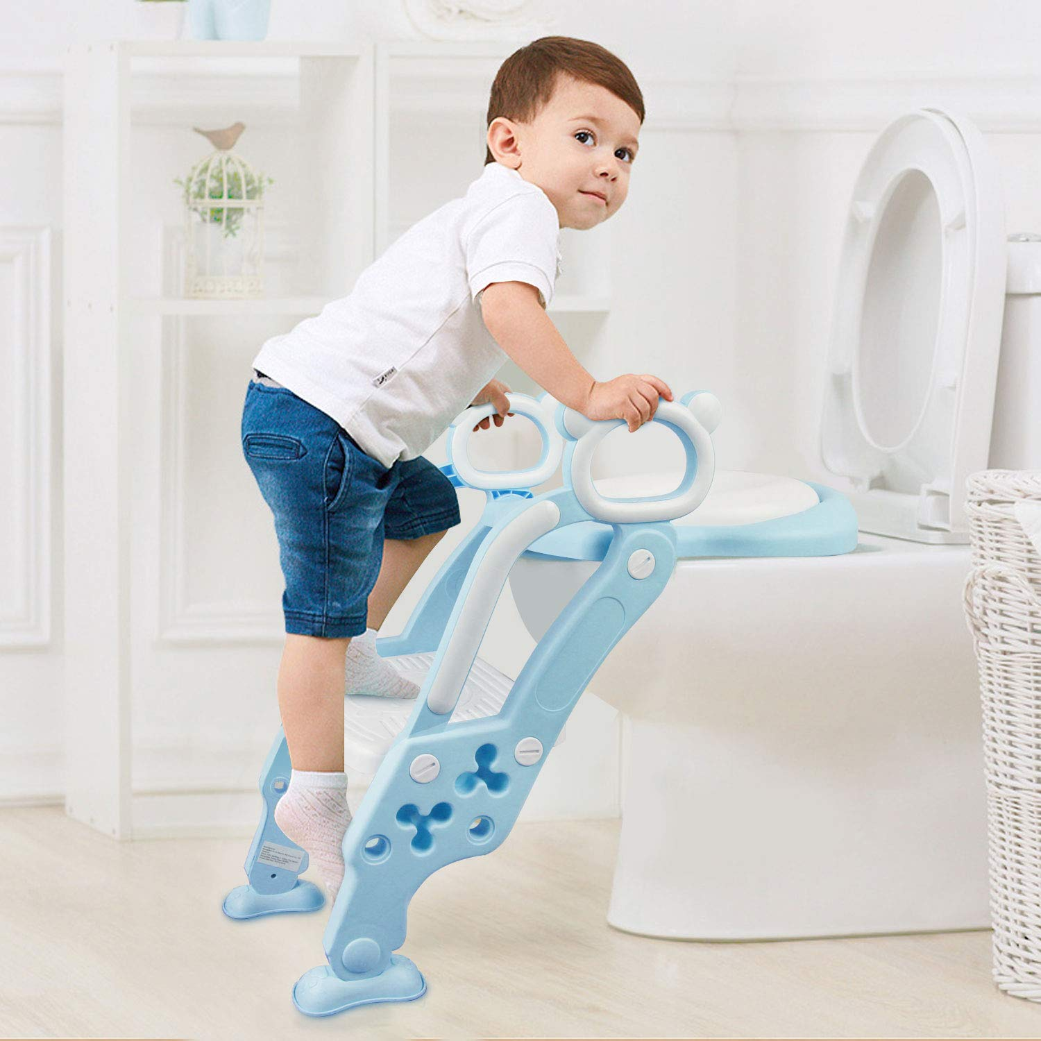 KID'S HOUSE Toddlers Potty Training Chair Seat with Ladder Non-Slip Step and Thickly Cushion for Kids by KID'S HOUSE