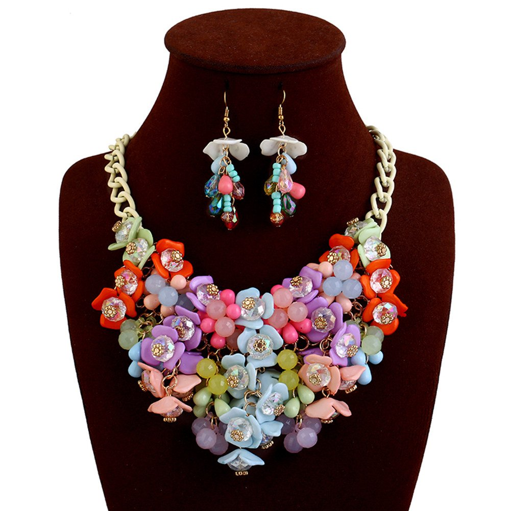 truecharms Fashion Choker Bib Necklace Multicolor Flower Crystal Collier Femme Brand Women Jewelry Statement Necklaces Collar (Multi with earrings)