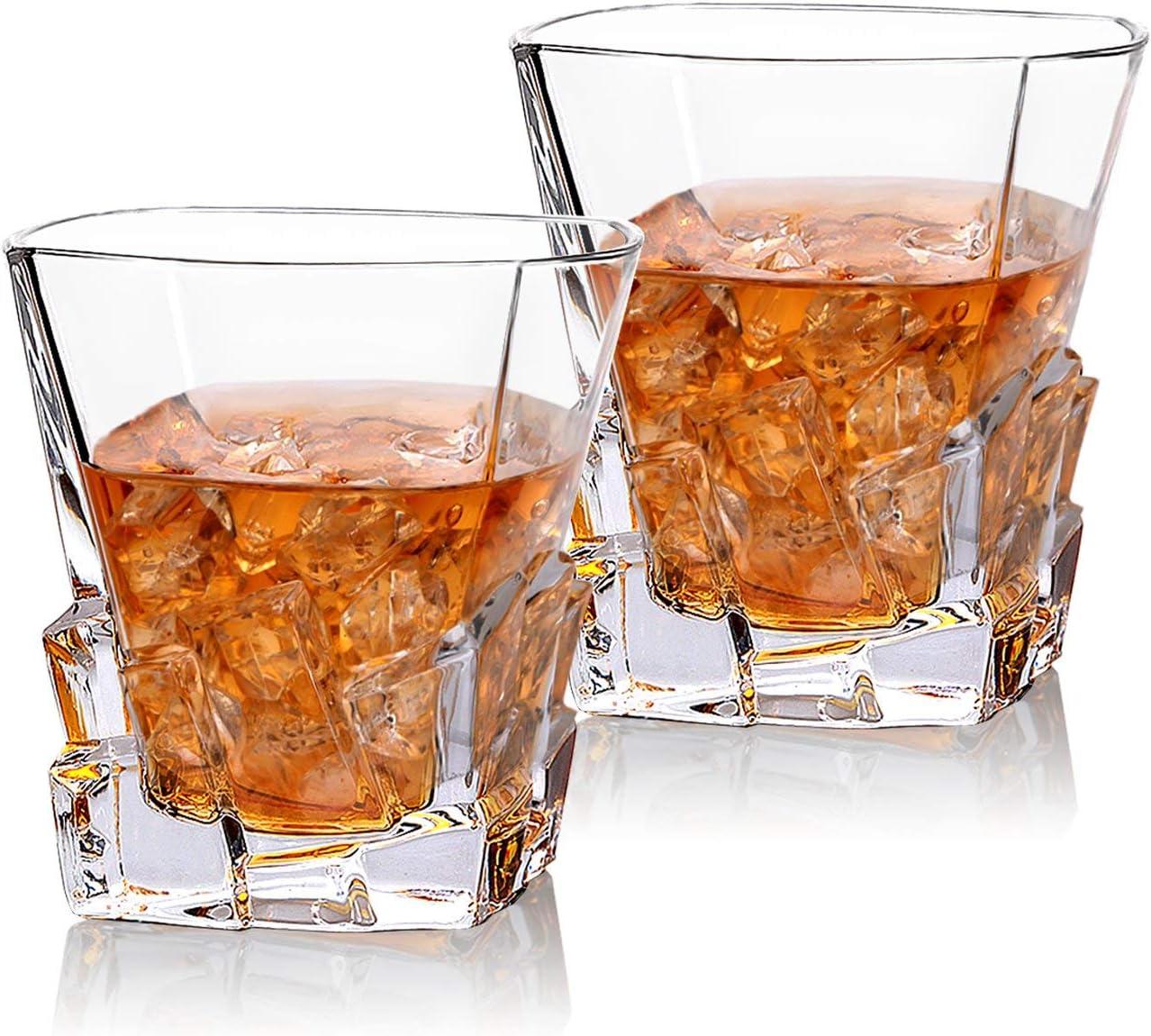 Cooko Iceberg - Juego de 2 Vasos de Whisky de Cristal para Whisky, cócteles, Bourbon, Zumo, 300 ml, 2 Unidades