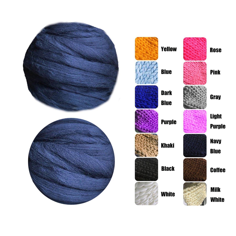 EASTSURE Chunky Roving Merino Wool Yarn Knit Yarn DIY Blanket Giant Roving for Arm Knitting,Navy Blue,6.6LB/3KG