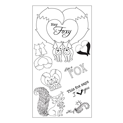 Amazon Sizzix 661142 Fox Tales Stamps By Jen Long Clear Arts