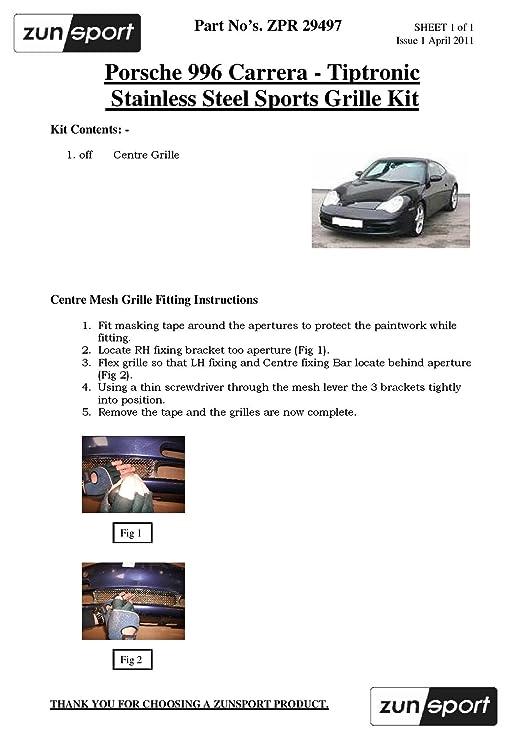 1997 to 2002 Zunsport Compatible Porsche Carrera 996 Manual Black finish - Front Grille Set