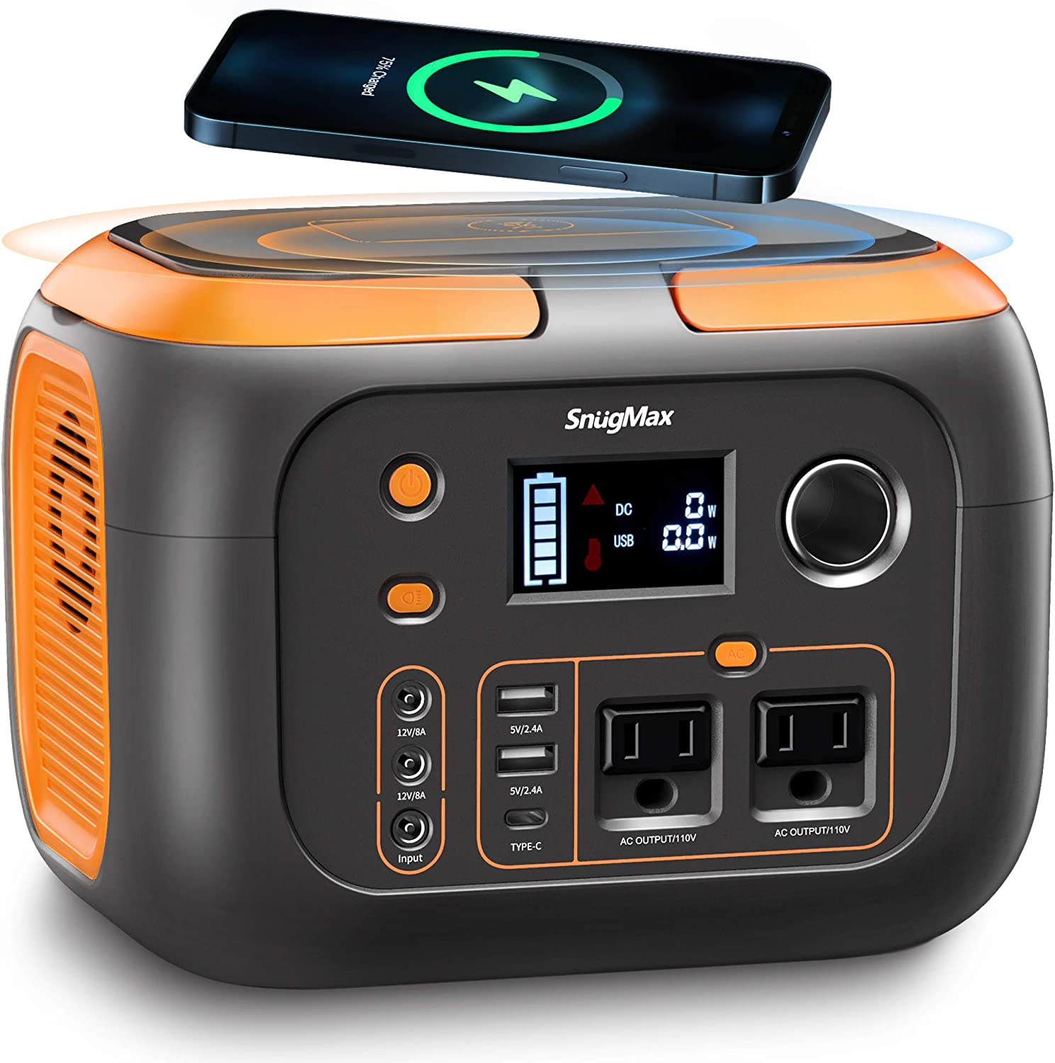 SNUGMAX 350W Portable Power Station, Portable Battery Generator with Pure Sine Wave AC Outlet, Wireless Charging, Portable Solar generators for Camping, Outdoor Adventure, Home Emergency Power Supply