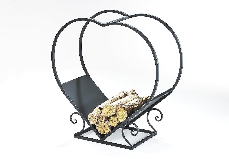 Kobolo Kaminholzständer Holztrage Heart Herzform Schwarz
