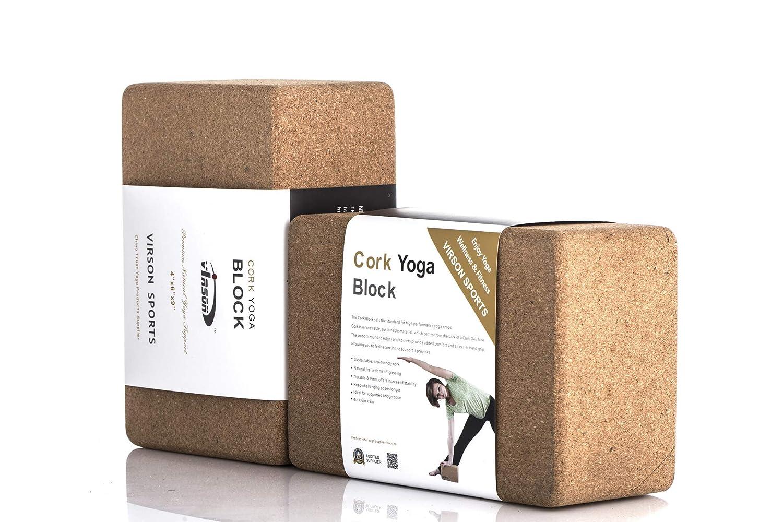 Amazon.com : VIRSON Cork Yoga Blocks Set of 2, Classic Size ...