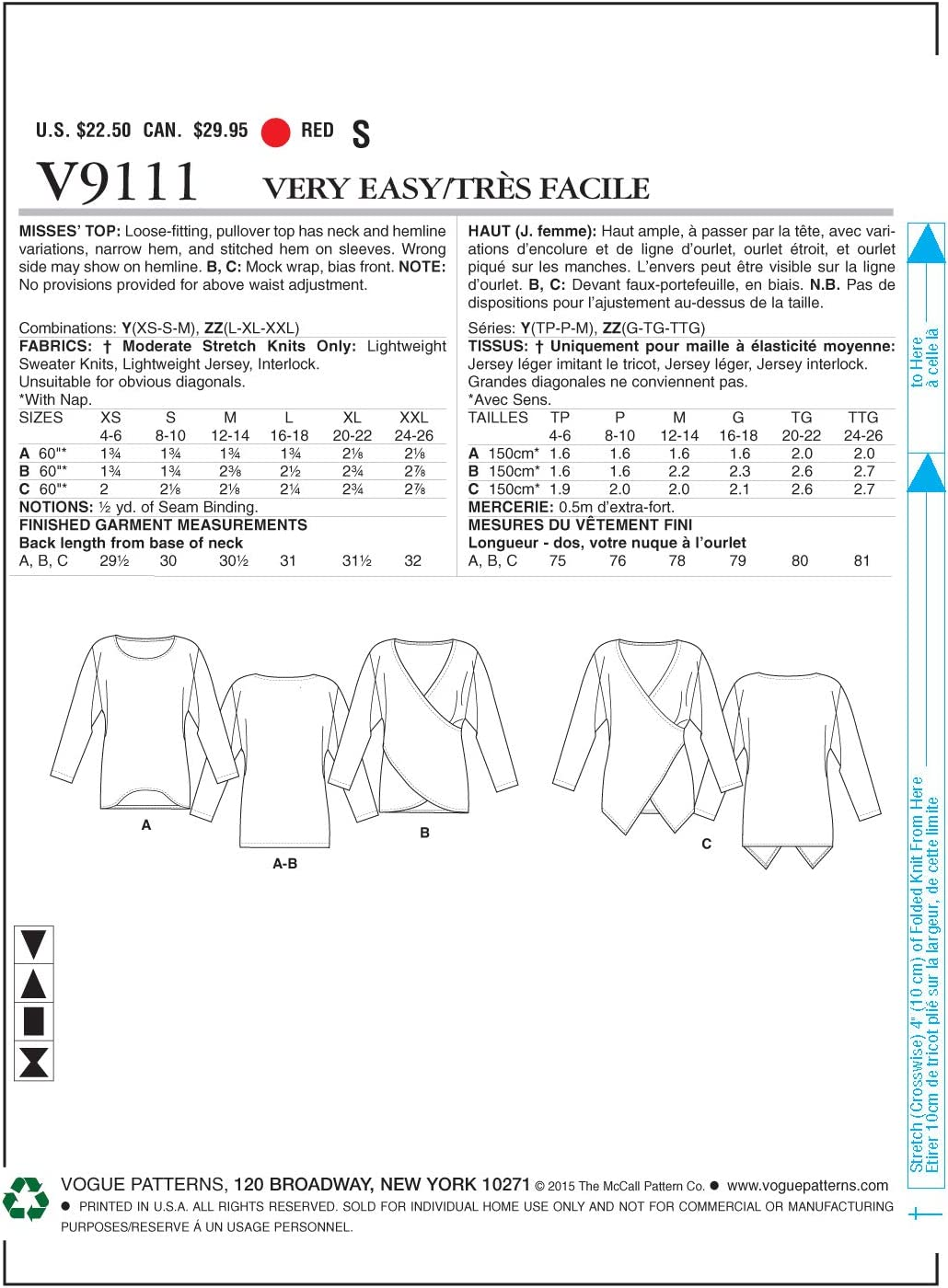 Vogue Sewing Pattern V9111 Women/'s Loose Fitted Pull Over Top