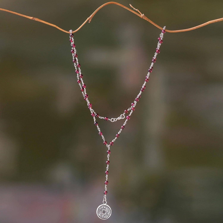 18 Crimson Pis Bolong NOVICA Garnet .925 Sterling Silver Pendant Necklace