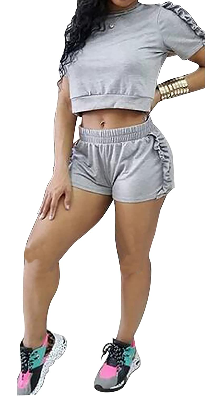 984b8bafe4c2 Amazon.com  LKOUS Summer 2 Piece Outfits Women Bodycon Short Sleeve Crop  Top Shorts Pants Set Tracksuit Sportswear  Clothing