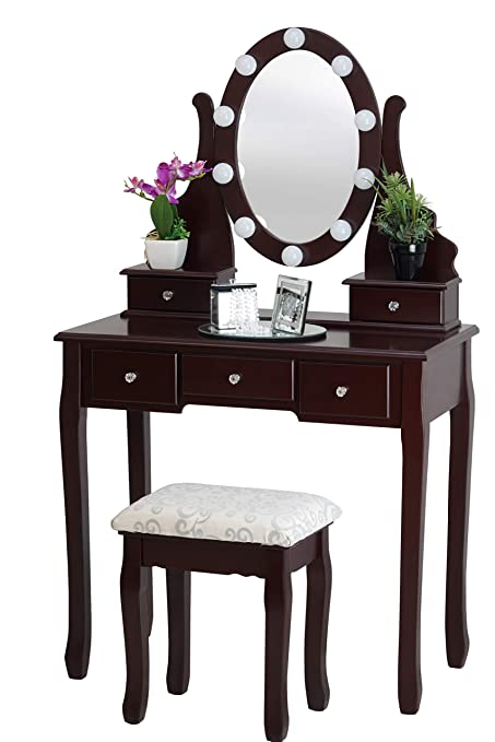 outlet store 20883 4a46a Fineboard Dressing Table with Stool and LED Lights with 5 Drawers and  Mirror, Brown