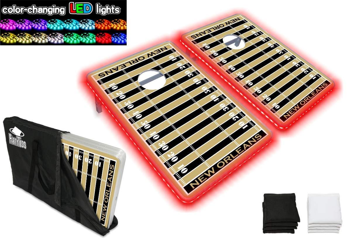 PartyPongTables.com ニューオーリンズ フットボール 3フィート x 2フィート アルミニウム コーンホールゲームセット - LEDライト- 頑丈なアルミフレーム - 厚いボード面 B07HD1ZGRL  LEDライト付き