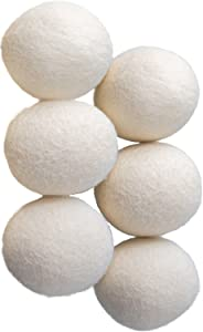 OxGord Dryer Ball (Pack of 6) X-Large Wool Dryer Balls for Laundry - Reusable Anti-Static Natural Fabric Softener