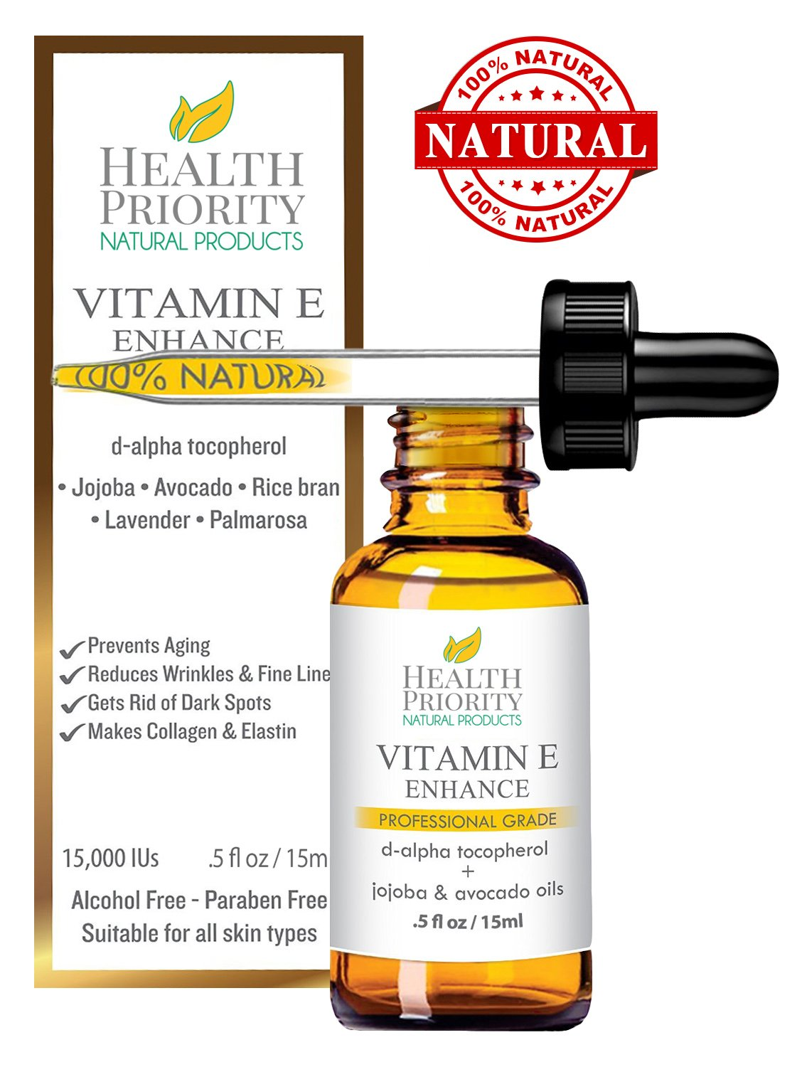 100% All Natural & Organic Vitamin E Oil For Your Face & Skin - 15,000/30,000 IU - Reduces Wrinkles, Lightens Dark Spots, Heals Stretch Marks & Surgical Scars. Best Treatment for Hair, Nails, Lips